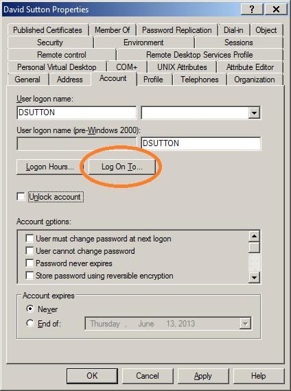 Account - Log On To (setting)