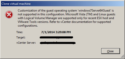 Deploy VM Template: Guest OS Customization Not Supported