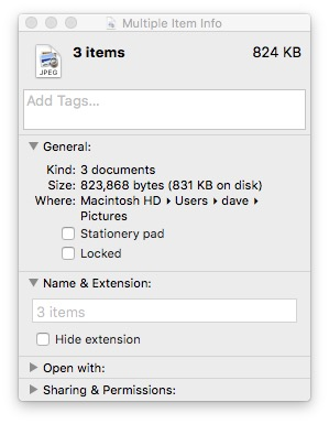 how to change info of multiple files mac